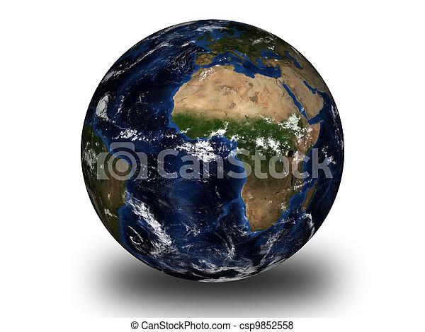 world globe isolated on white - csp9852558
