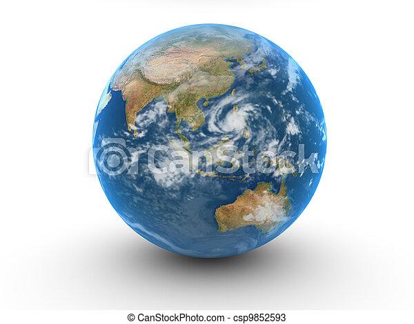 world globe isolated on white - csp9852593