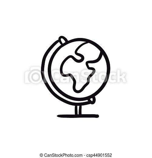 World globe on stand sketch icon. - csp44901552