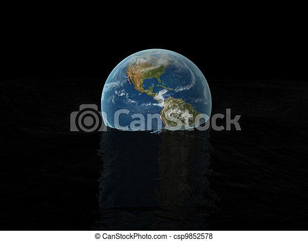 world globe on water - csp9852578