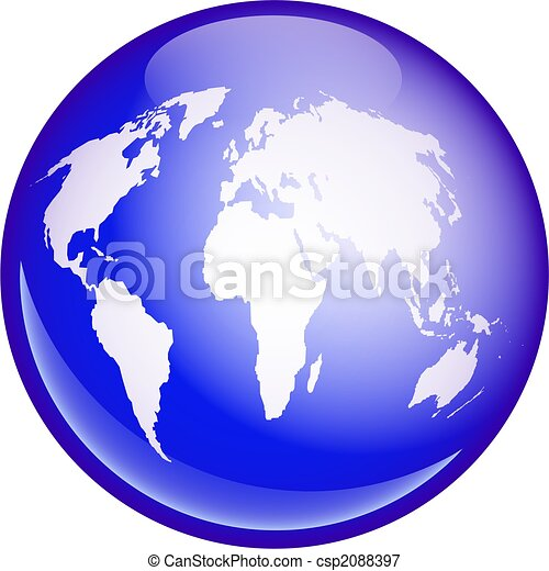 World globe. A blue globe featuring a map of the whole world ...
