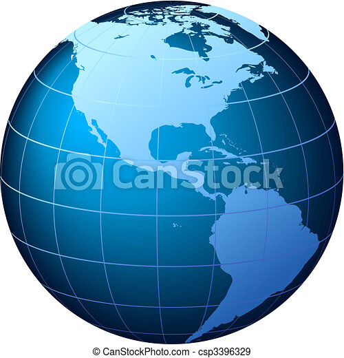 EPS Vectors Of World Globe USA View Vector World Globe - Globe of usa