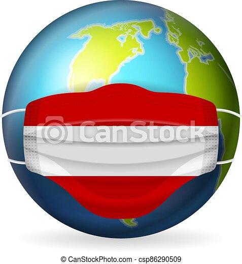 World globe with medical mask Austria flag - csp86290509