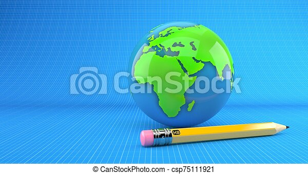 World globe with pencil on blueprint background - csp75111921