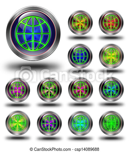 World glossy icons, crazy colors - csp14089688