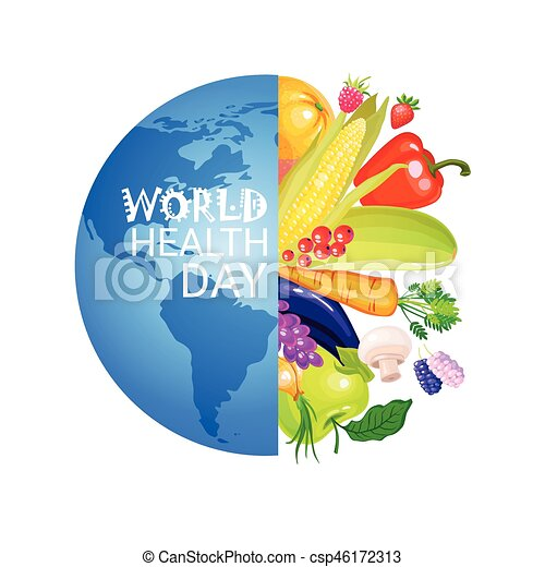 World Health Day 7 April Global Holiday Vitamins And Nutrition Concept