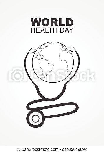 World Health Day Modern Simple Graphic Of Stethoscope And Planet