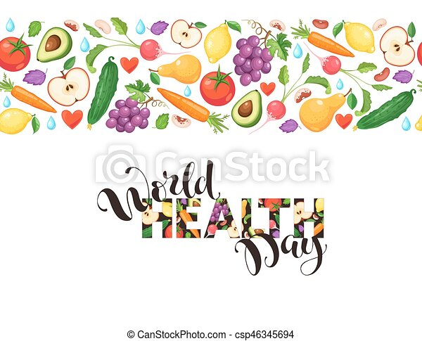 World Health Day Poster With Fresh Fruits And