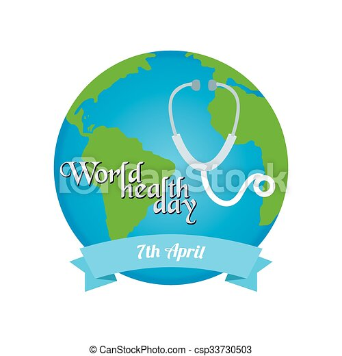 Isolated Label With Text And Elements For World Health Day