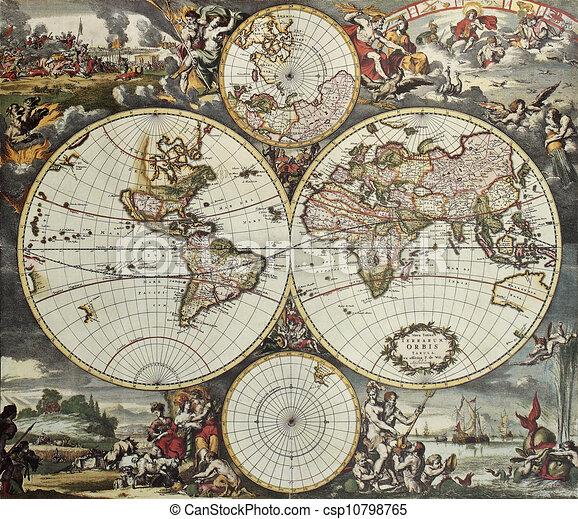 World hemispheres old map old map of world hemispheres created by world hemispheres old map csp10798765 gumiabroncs Gallery