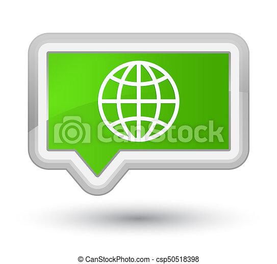 World icon prime soft green banner button - csp50518398
