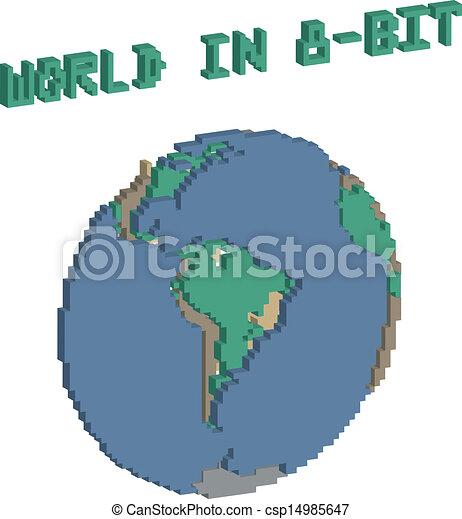 World in 8 bit Planeta terra feito em 8 bits lembrando os eps