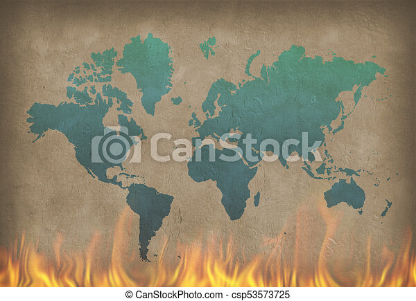 World in fire world map painting in blue color on the burning wall world in fire csp53573725 gumiabroncs Gallery