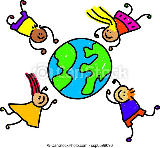 World Kids Happy And Diverse Children Circling The World Toddler