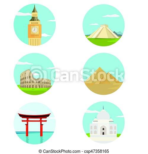 World landmark icon set - csp47358165