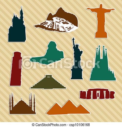 World landmark silhouettes - csp10106168