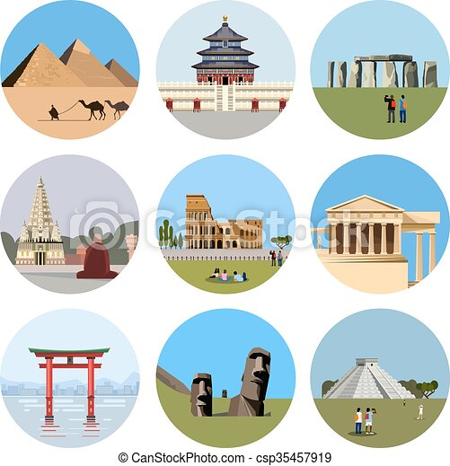World landmarks flat icon set - csp35457919