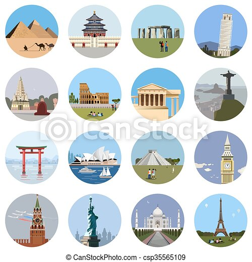 World landmarks flat icon set - csp35565109
