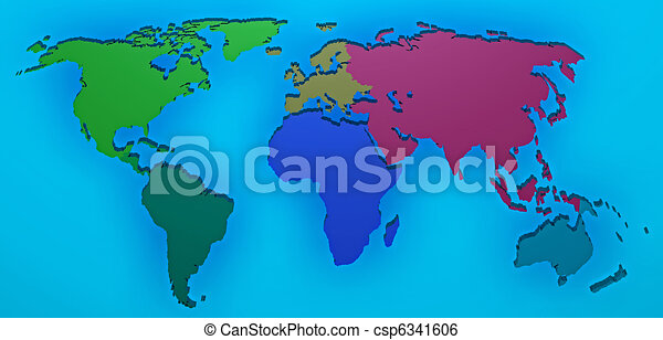World Map D Render With The Different Continents Separated Stock - Different continents of the world