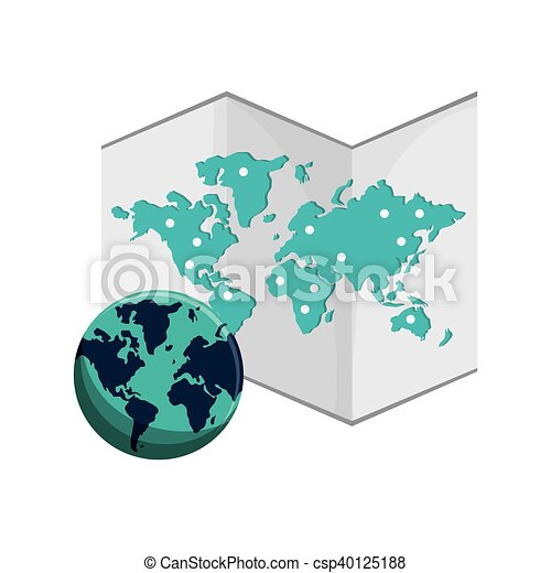 Flat design world map and earth globe icon vector illustration world map and earth globe icon csp40125188 gumiabroncs Gallery