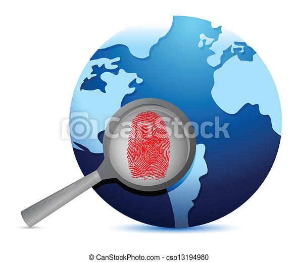 World Map and fingerprint under a magnify glass - csp13194980