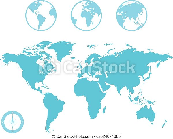 World map and globe icons vector world map and globe with compass icon world map and globe icons csp24074865 gumiabroncs Gallery