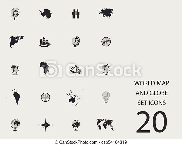 World map and globe set of flat icons vector illustration world map and globe set of flat icons vector illustration gumiabroncs Image collections