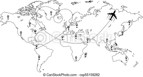 World map and plane black and white world map with aircraft world map and plane csp55159282 gumiabroncs Gallery