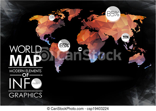 Modern elements of info graphics world map and typography world map and typography csp19403224 gumiabroncs Image collections