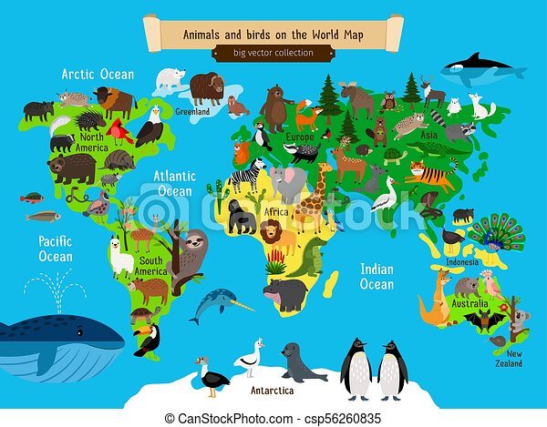 Map Of South Africa For Kids.World Map Animals Europe And Asia South And North America Australia And Africa Animals Map Vector Illustration