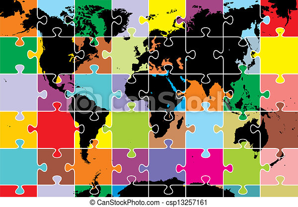 World map as puzzle color map of the world as puzzle clip art world map as puzzle csp13257161 gumiabroncs Images
