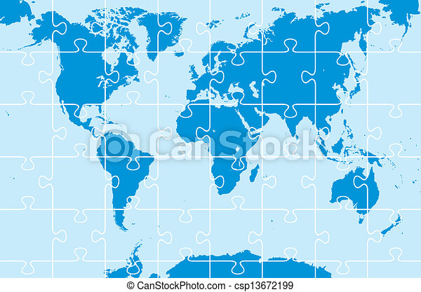 World map as puzzle on the blue background eps vectors search clip world map as puzzle csp13672199 gumiabroncs Images