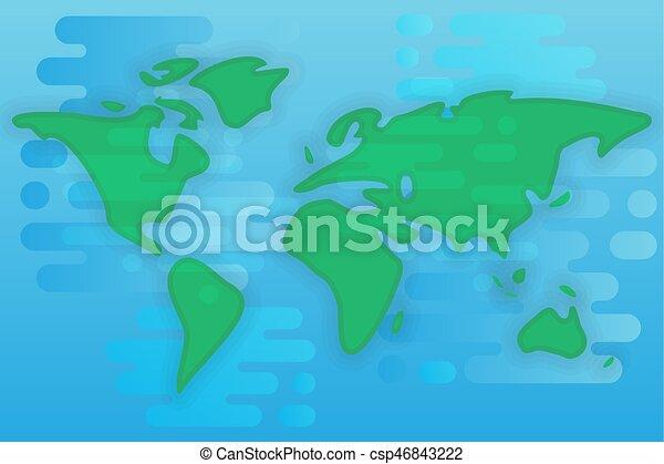 World Map Cartoon Flat Illustration World Map Simple Cartoon