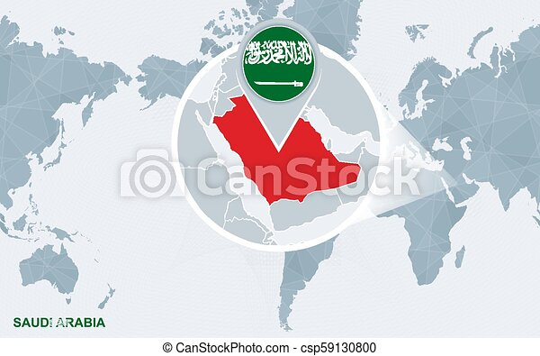 World map centered on America with magnified Saudi Arabia. on syria world map, india world map, ukraine world map, iraq world map, vietnam world map, yemen world map, nigeria world map, ireland world map, macedonia world map, israel world map, cambodia world map, belgium world map, china world map, venezuela world map, egypt world map, netherlands world map, afghanistan world map, iran world map, congo world map, turkey world map,