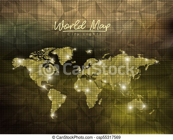 world map city lights in green polygon shape background csp55317569