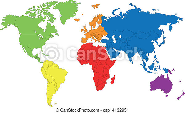 World map colored map of the world with countries borders clipart world map csp14132951 gumiabroncs Image collections