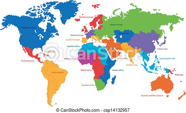 World map united nations divides the world into clipart vector world map csp14132957 gumiabroncs Image collections