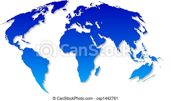 Isolated blue world map design with a grey shadow clipart search world map csp1442761 gumiabroncs Gallery