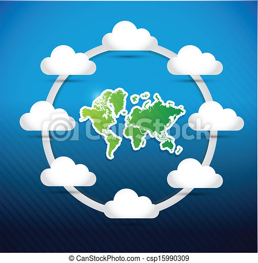 World map cloud computing network diagram concept illustration design world map cloud computing network diagram csp15990309 ccuart Image collections