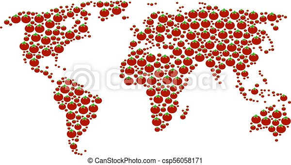World map collage of tomato vegetables vector tomato vectors world map collage of tomato csp56058171 gumiabroncs Images