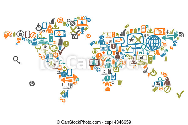 World map composed from social web icons and device world map composed from social web icons and device gumiabroncs Images