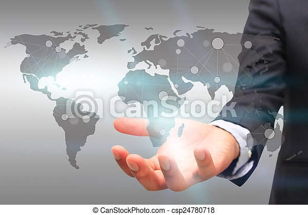World map connected. Social network concept. globalization busines - csp24780718