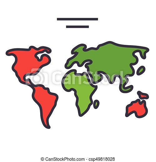 World map continents globe concept line vector icon editable world map continents globe concept line vector icon editable stroke flat linear illustration gumiabroncs Gallery