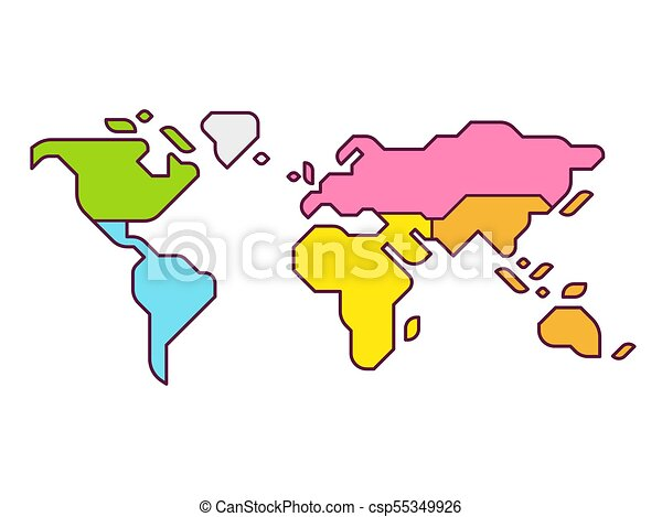 World Map Continents Simplified World Map Infographic With