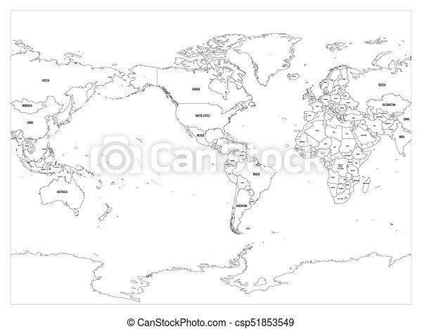 World map country border outline on white background with country world map country border outline on white background with country name labels america centered map of world vector illustration gumiabroncs Gallery