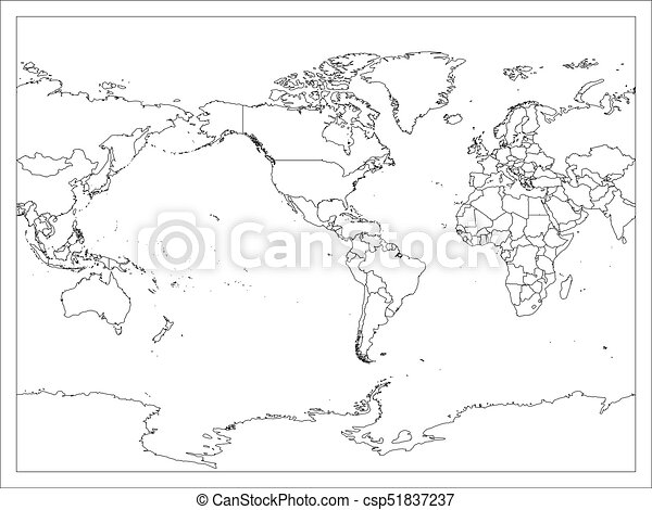 World map country border outline on white background vectors world map country border outline on white background america centered map of world vector gumiabroncs Choice Image