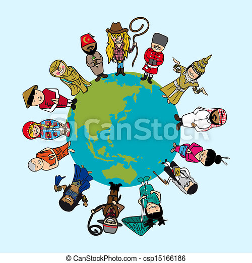 World map diversity people cartoons with distinctive outfit vector world map diversity people cartoons with distinctive outfit vector file illustration layered for easy editing gumiabroncs Images