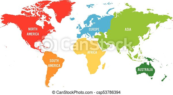 World map divided into six continents each continent in different world map divided into six continents each continent in different color simple flat vector illustration gumiabroncs Gallery