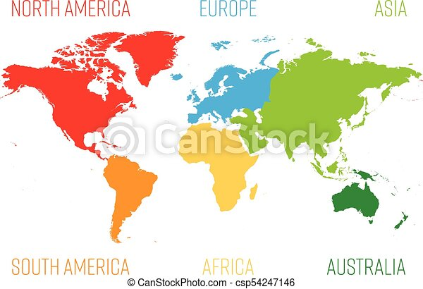 World map divided into six continents each continent in eps world map divided into six continents each continent in different color simple flat vector gumiabroncs Gallery