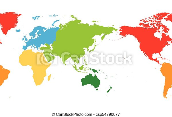 World map divided into six continents asia and australia centered world map divided into six continents asia and australia centered each continent in different color simple flat vector illustration gumiabroncs Choice Image